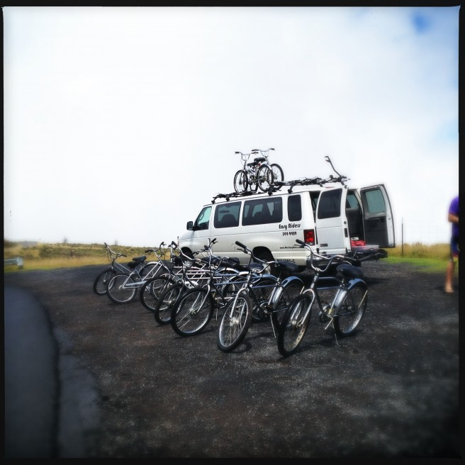 The bikes are ready at the top of Haleakala.