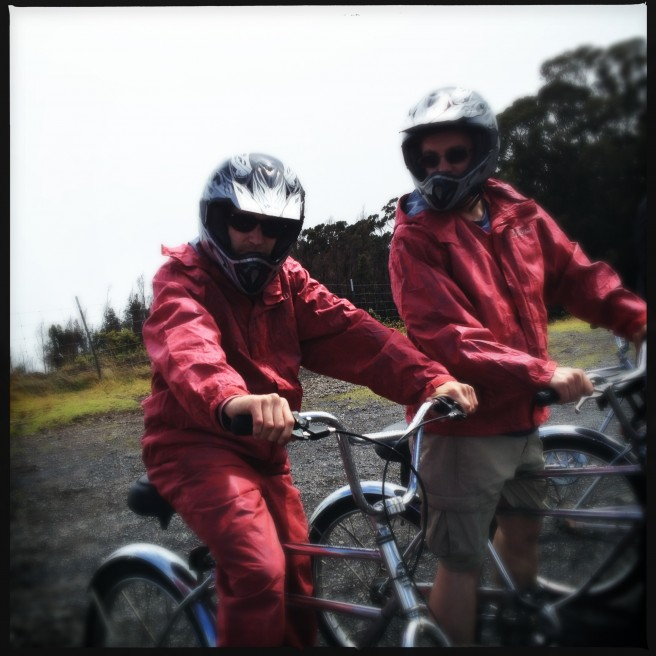 Posing on bikes before our descent down a Maui volcano.