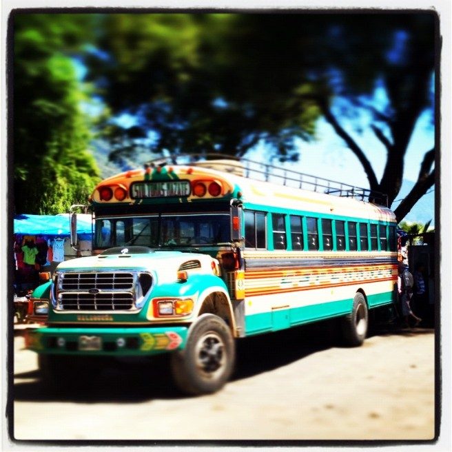 A colorful chicken bus in Santiago, Guatemala.