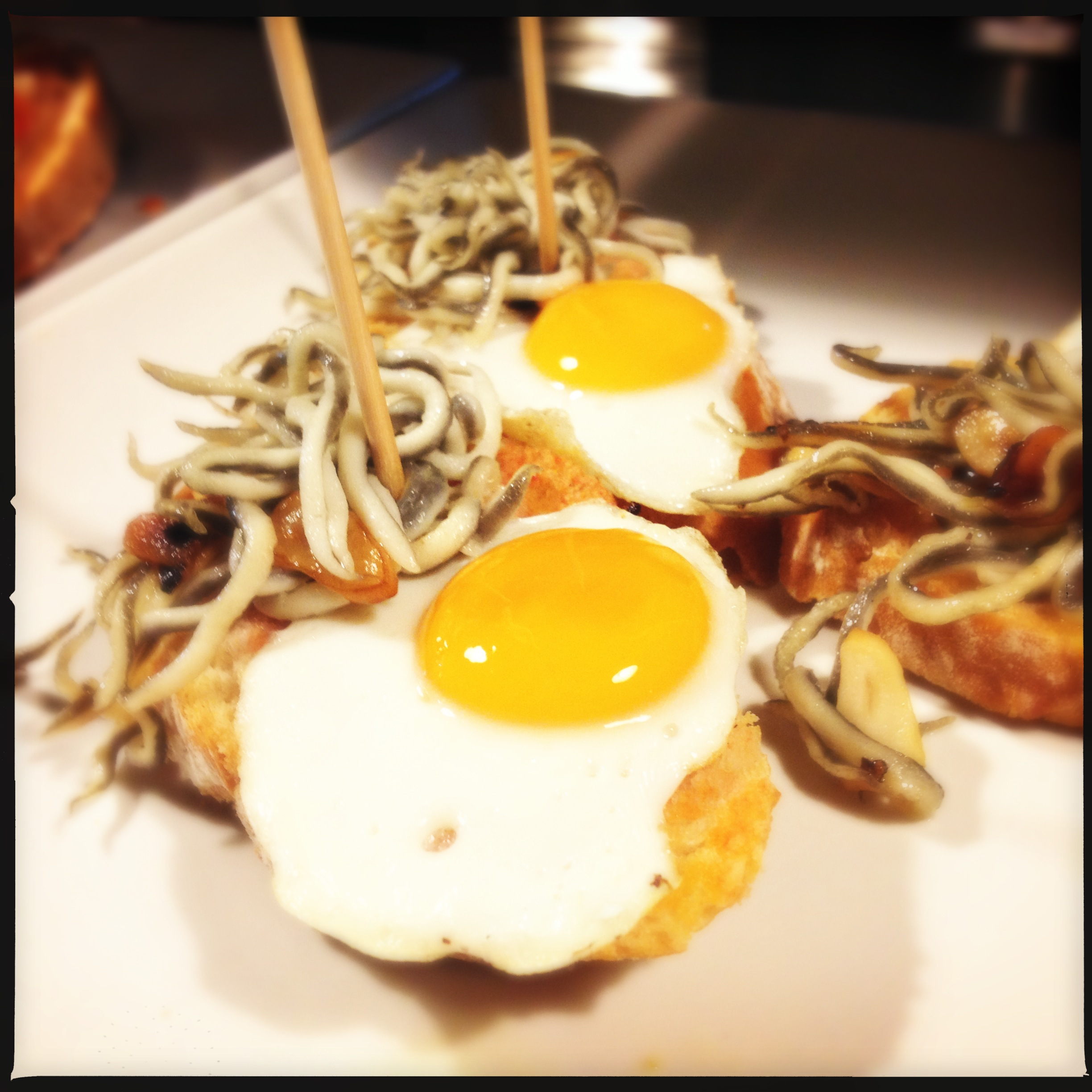 An egg and squid tapas plate from Costa Brava, Spain.