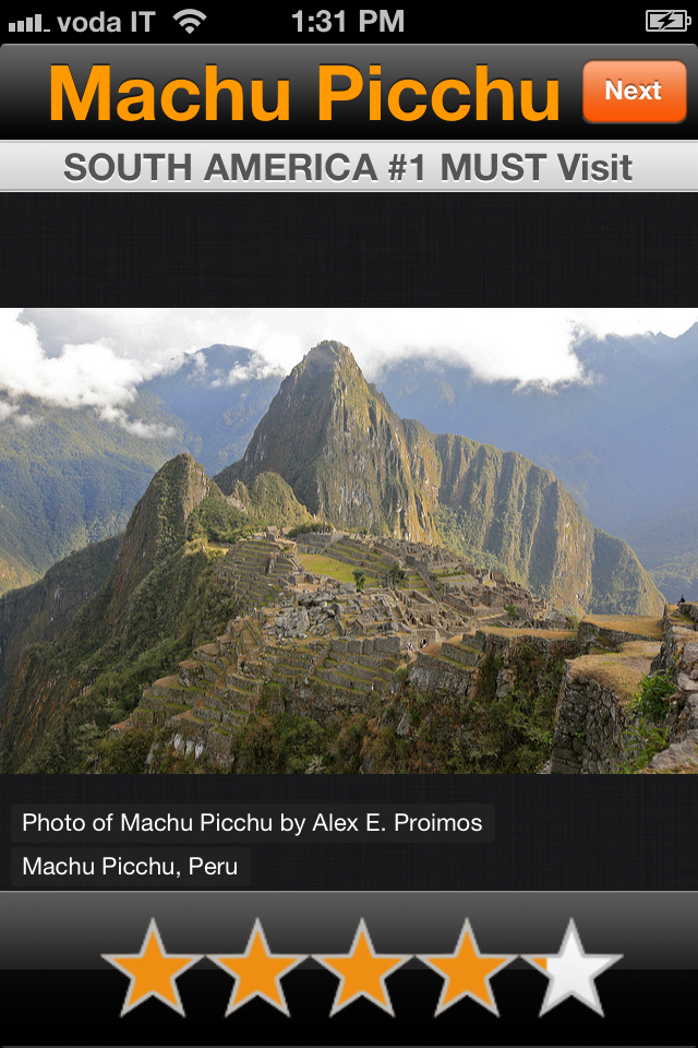 Screenshot from iPhone Travel App Your Next Vacation