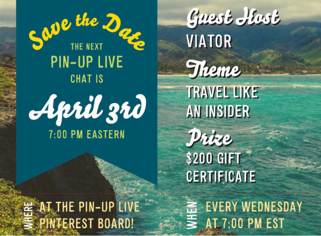 Pin Up Live on Pinterest save the date image.