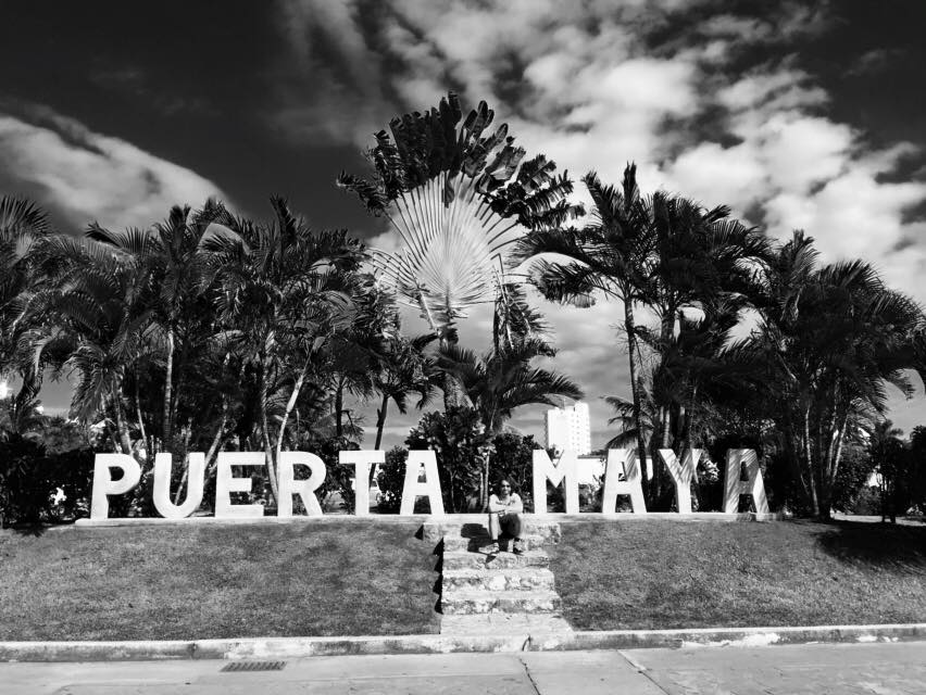 Puerta Maya sign in Cozumel, Mexico.