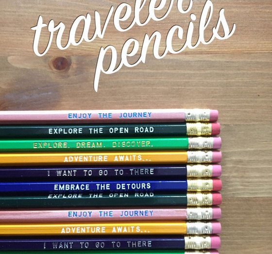 A 12-pack of colorful travel-inspired pencils from Earmark Social Goods.