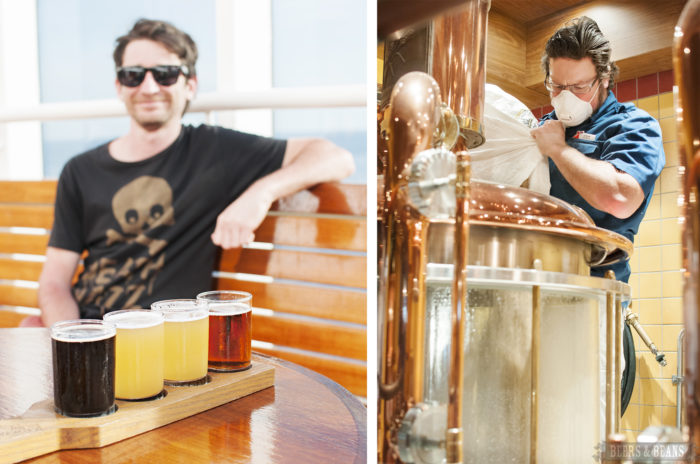 Travel blogger Randy Kalp drinks a flight of beer as brewmaster Colin Presby makes beer on the Carnival Vista.