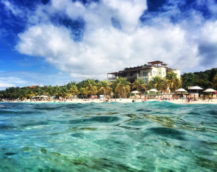 A view of West Bay Beach in Roatan, Honduras, from the water.