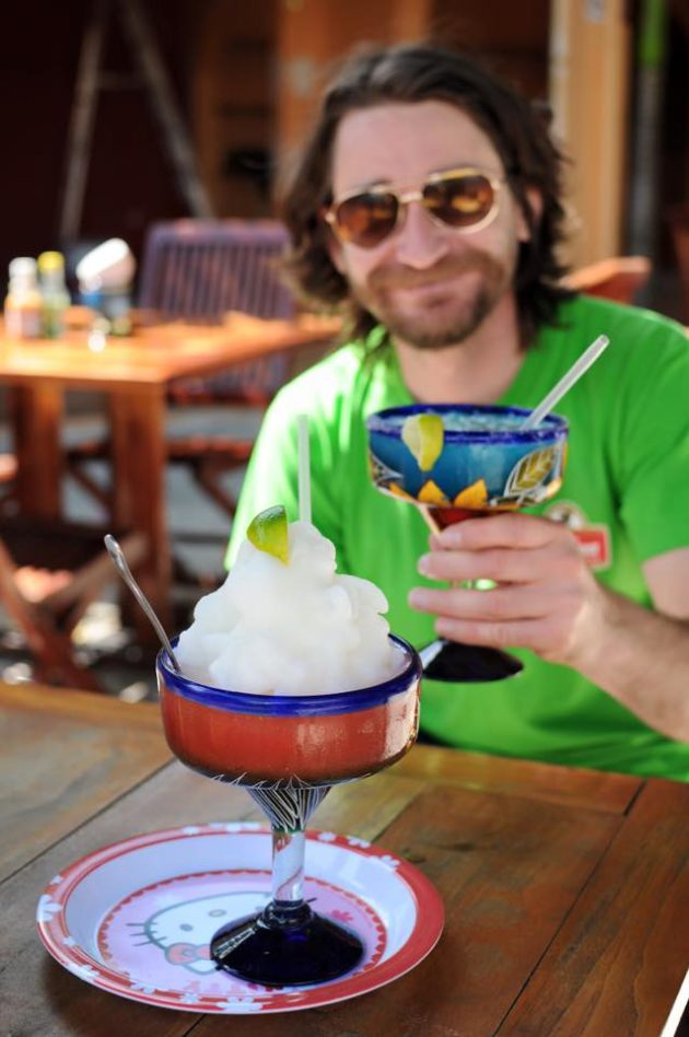 Randy Kalp drinking a Margarita at Wet Wendy's Bar in Cozumel, Mexico.