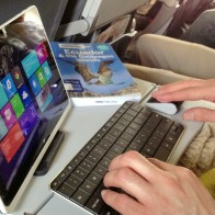 An Acer tablet being used as a desktop PC on a flight to the Galapagos Islands.