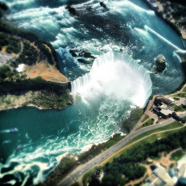 An aerial view of Niagara Falls from a helicopter.