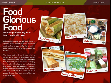 A screenshot showcasing food from the Discover Brunei App for Apple iPad.
