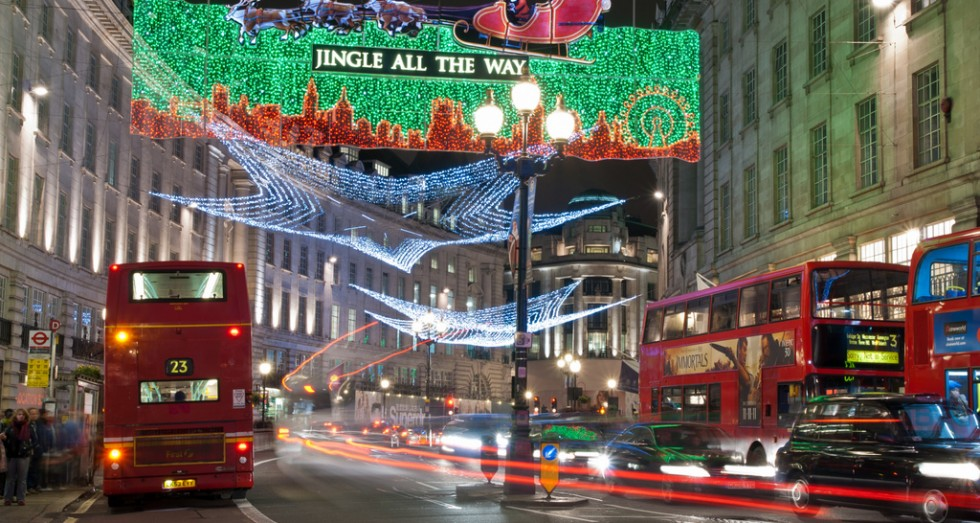Double Decker buses and Christmas Lights.