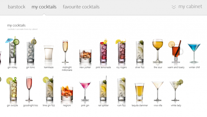 A selection of cocktails from the Cocktail Flow app on Windows 8.