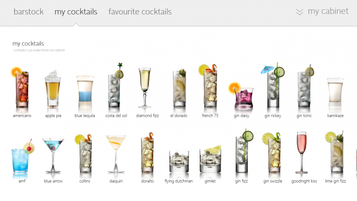 Cocktails recommended to me by the Windows 8 Cocktail Flow app.
