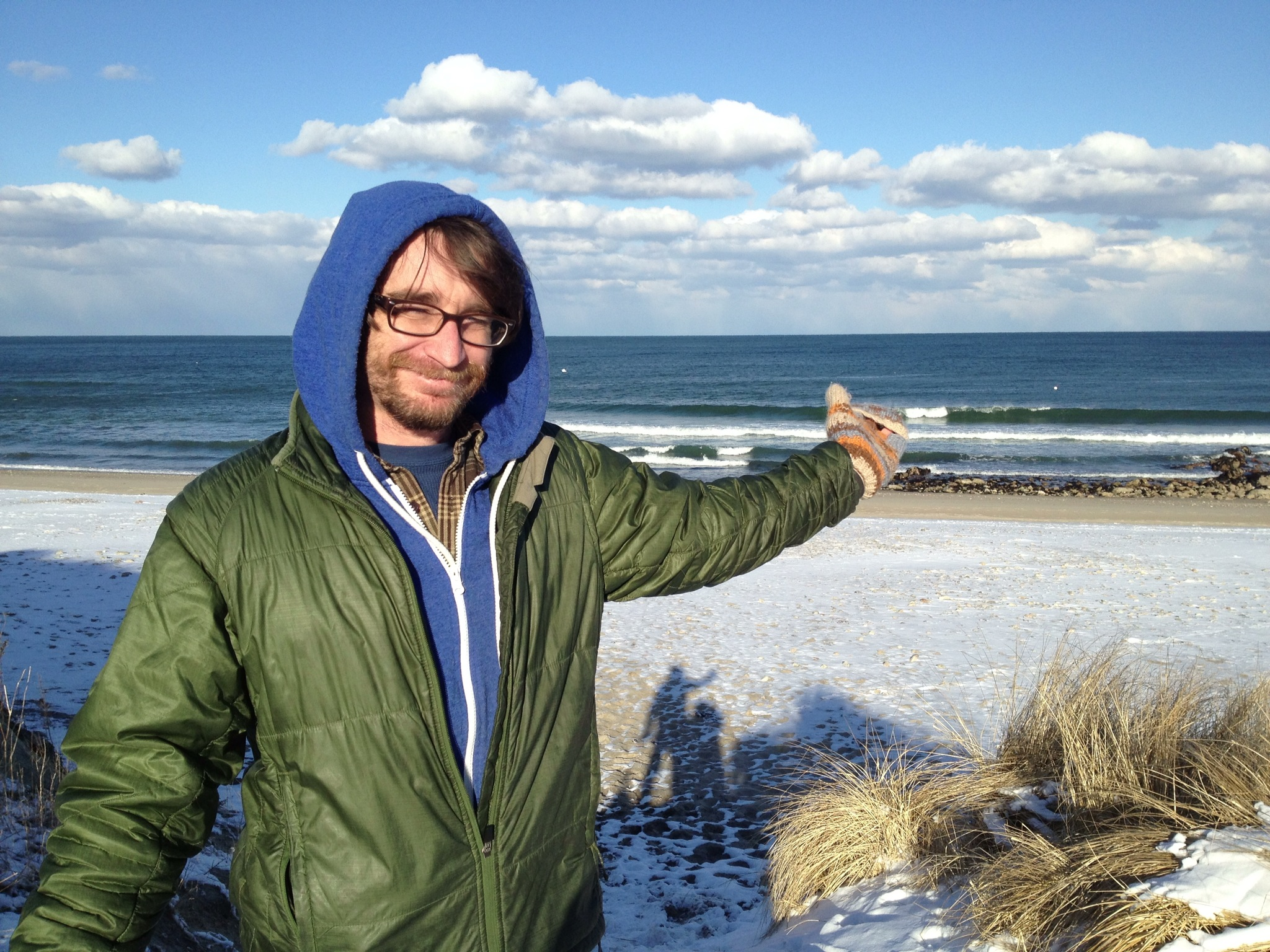 A snow covered beach in Manomet Beach, Massachusetts.