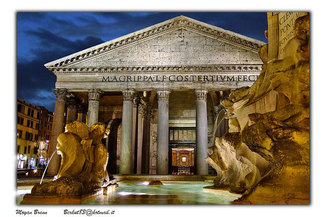 The Pantheon, an ancient temple of Rome in Italy.