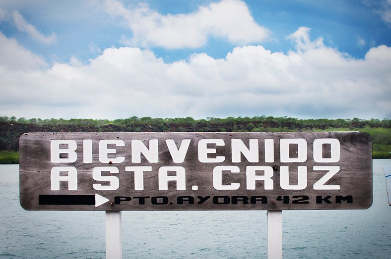 A welcome sign on Santa Cruz Island in the Galapagos, Islands off of Ecuador.