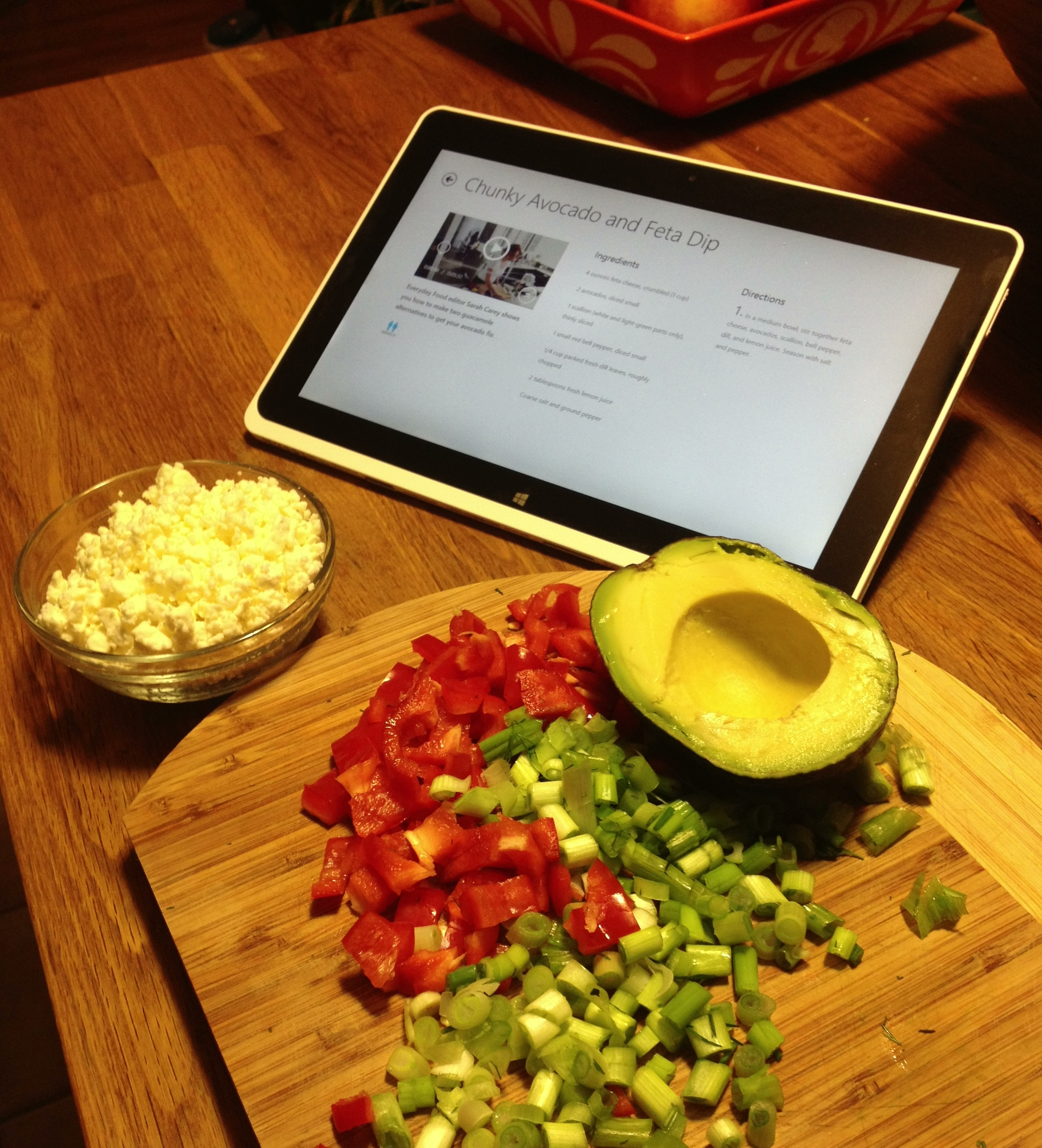The Chunky Avocado and Feta dip for Super Bowl Sunday with Acer w5 Tablet.