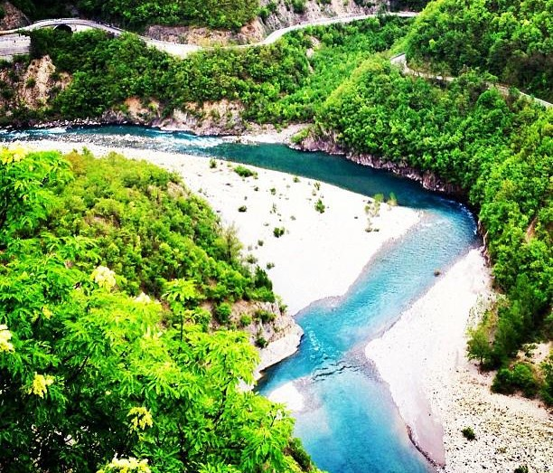 An aerial view of the Trebbia River near Bobbio, in the Province of Piacenza (Emilia Romagna region).