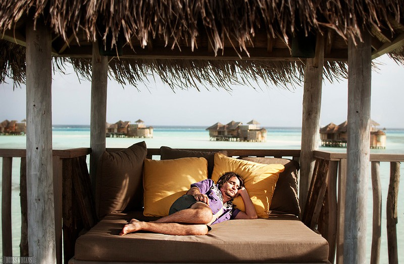 Sleeping at Gili-Lankanfushi.
