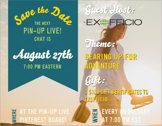 Pin-Up Live! Join Us Wed. (8/27) on #Pinterest to Talk Travel with @ExOfficio: