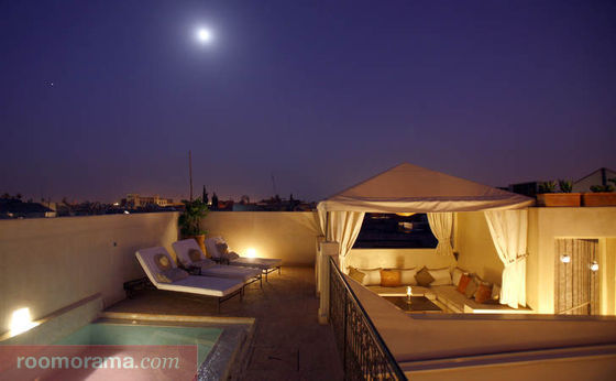 A roof terrace in the medina in Marrakech.