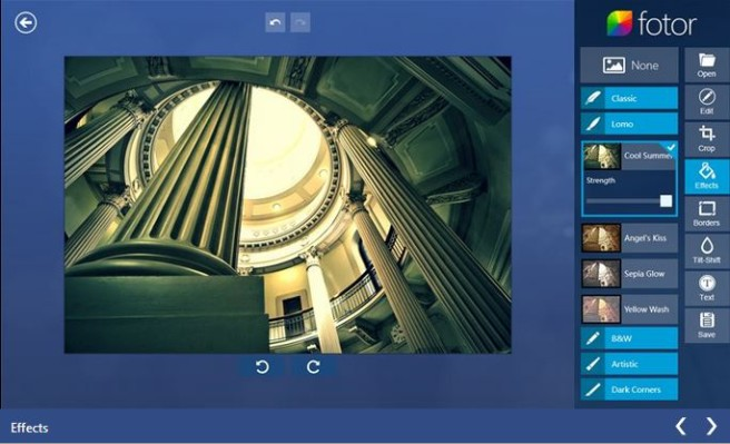 fotor, a Windows 8 tablet app