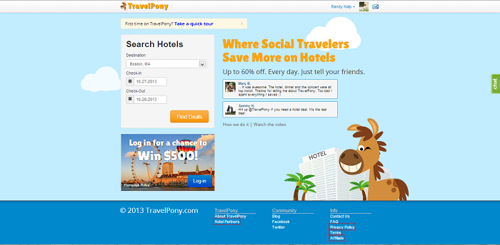 TravelPony review homepage.