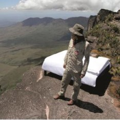 Aaron Chervenak on Mount Roarima with the sweet bed by ibis.
