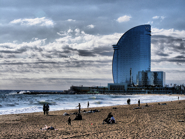 Barcelona Beach at sunset.